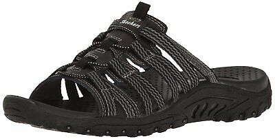 Skechers Womens Reggae Repetition Leather Open Toe Casual Slide, Black, Size 8.0 • 26.99£
