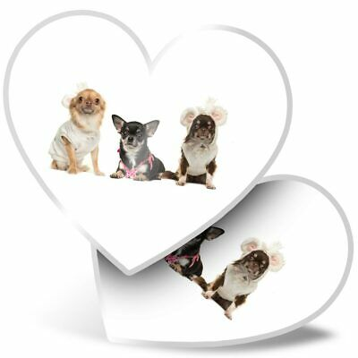 2 X Heart Stickers 10 Cm - Chihuahua Dogs Puppy Pet Animals  #8131 • 2.99£