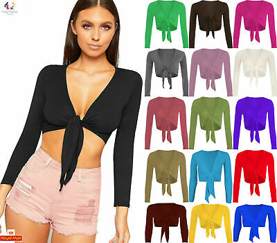 Womens Plain Tie Front Bolero Cropped Shrug Ladies Long Sleeve Cardigan Top 8-26 • 5.99£