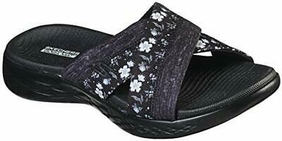 Skechers Women's Shoes 140038 Fabric Open Toe Casual Slide, Black/Grey, Size 6.0 • 24.99£