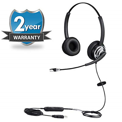 USB Headset With Noise Cancelling Microphone Dual Ear Skype Headset With Speech • 54.04£
