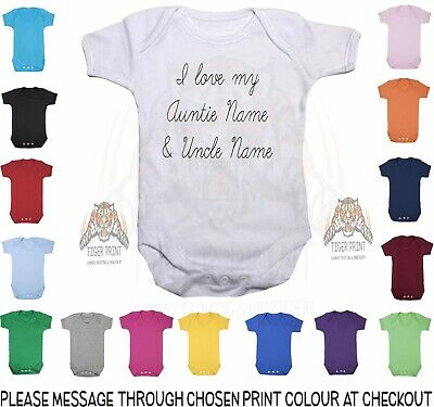 I Love My Auntie And Uncle Personalised With Names Coloured Bodysuit Baby Vest • 6.99£