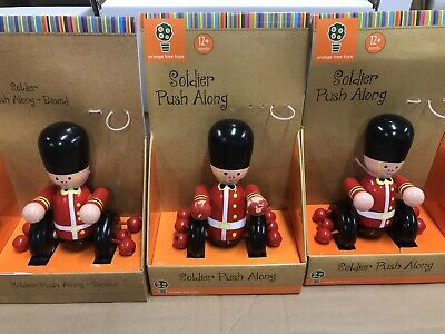 3 Soldier Push Along Wooden Toys Missing Poles Vintage Style Beads Sounds Clacke • 12.50£