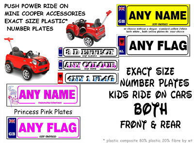 £2.99 • Buy 2 X PERSONALISED NUMBER PLATES  KIDS  MINI COOPER PUSH POWER RIDE -ON BUGGY CAR