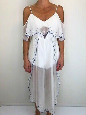 AU89 • Buy ALICE MCCALL Nothing Jumpsuit Playsuit White Blue With Embroidery Size 12