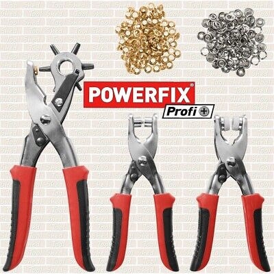 POWERFIX Hole Punch, Eyelet Pliers And Press Stud Pliers 128 Piece Set • 8.99£