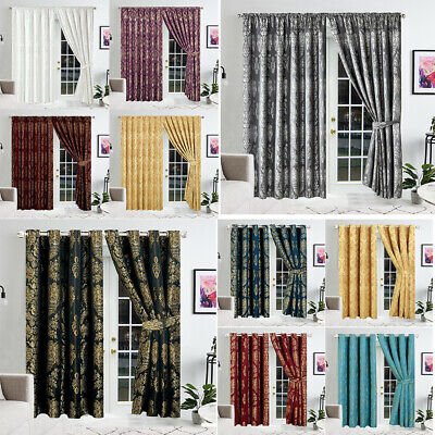 £42.99 • Buy Jacquard Curtains Eyelet Ring Top Fully Lined Pencil Pleat Curtains + Tie Backs