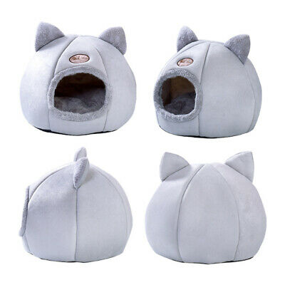Cat Pet Dog Warm House Cave Beds For Indoor Cats Cozy Wool Igloo Nest Kennel M/L • 14.66£
