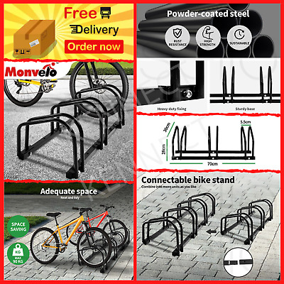 AU71.59 • Buy 1-6 Bike Bicycle Floor Parking Rack Stand Outdoor Storage Cycling Portable Black