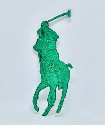Green HORSE POLO SPORTS BRAND LOGO IRON ON/SEW ON EMBROIDERED PATCH BADGE • 1.88£