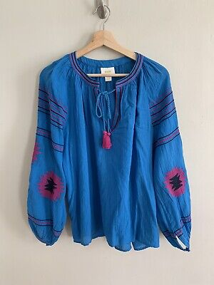 $ CDN49.60 • Buy Anthropologie Maeve Runway Embroidered Peasant Top Blue Pink Size M