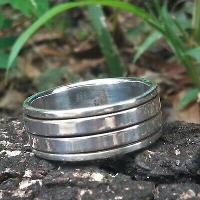 Minimalist Spinning Simple Band RING For MEN 925 Sterling Silver • 17.50£
