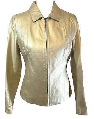 £24.44 • Buy Womens Genuine Leather Jacket Cream Metallic Gold Lined Womens Size Small