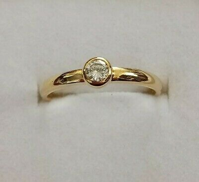 AU1500 • Buy 18Kt Gold NATURAL Diamond Solitaire Engagement Ring With Certification Size 7