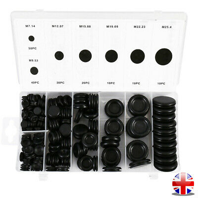 170x Mixed Blanking Rubber Grommets Closed Blind Grommet Plugs 7.14-25.4mm Black • 9.97£