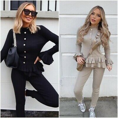 Womens Ladies Fine Ribbed Frill Peplum Gold Button Loungewear Suit Tracksuit Set • 20.90£