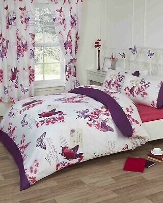 6pc Bedroom In A Bag Duvet Cover Curtains Fitted Sheet & Pillowcases Double  • 28£
