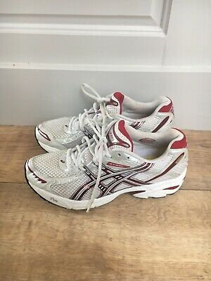 Asics Gel Running Shoes 7.5 White/ Red High Impact Support Worn 3 Times • 19.99£