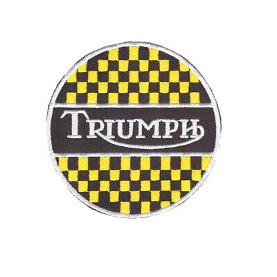 8cm Diameter Triumph Motorcycles Embroidered Badge Iron On/Sew On Jacket Jeans • 1.99£