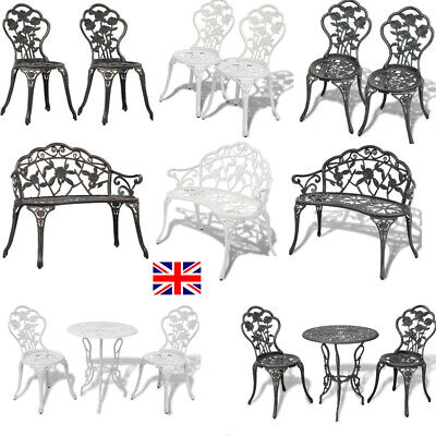Vintage Garden Chairs French Style Furniture Metal Bistro Patio Cast Iron Set • 169.32£