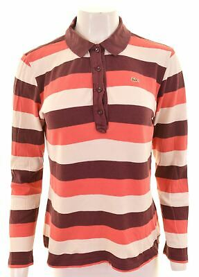 LACOSTE Womens Polo Shirt Long Sleeve Size 46 XL Multicoloured Striped Cotton • 22.95£