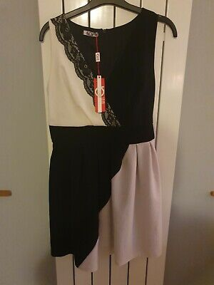 £6 • Buy Ladies Size M Black And White Zipped Back Dress By Wal G Rrp £38 Nwt