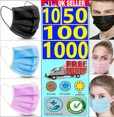 100 / 1000 Disposable 3Ply Face Mask Protective Non Surgical Breathable • 7.45£