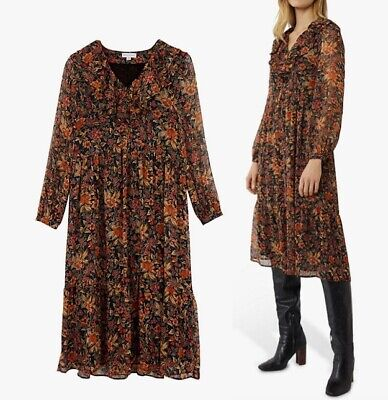 WAREHOUSE Winter Bloom Shimmer A-Line Midi Dress In Multi Brown Sizes 8-10-12-14 • 22.99£