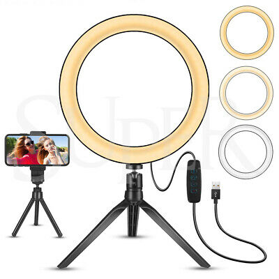 AU15.88 • Buy 10'' LED Dimmable Ring Light Tripod Stand Phone Holder Selfie Make Up Video Live