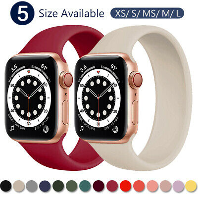 $ CDN4.93 • Buy Silicone Solo Loop Band Strap For Apple Watch Series 6 SE 5 4 3 2 44/40/38/42 Mm