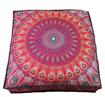 35  Square Floor Peacock Mandala Cushion Decorative Throw Pillow Case Pouf Bed • 19.25£
