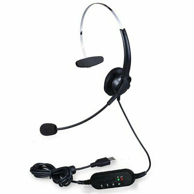 USB Headphones With Microphone Noise Cancelling Headset For Skype PC Laptop ++ • 15.99£