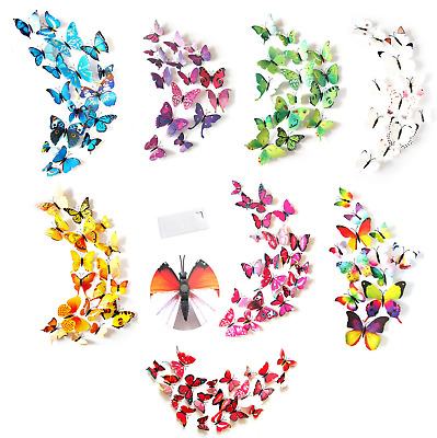 £4.45 • Buy Butterfly Wall Stickers / Magnet, 3D Art Decals Home Room Decorations Decor Kids