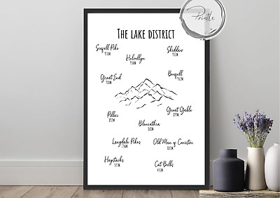 Lake District Mountain Print, Hiking Gifts, Hiking Wall Art, Walking, Mountain • 8.50£