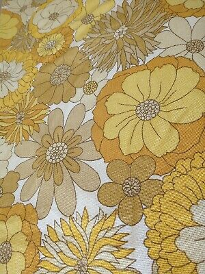 VINTAGE St. Michael 70s Yellow Orange Curtain Fabric FLOWER POWER W64 XD88  • 39.99£
