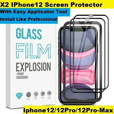 AU14.99 • Buy X2 Tempered Glass For IPhone 12 Screen Protector With Easy Applicator Tool