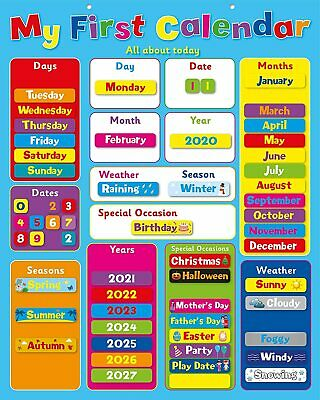 My First Calendar/ Childrens Kids Magnetic Calendar And Weather Chart • 13.99£