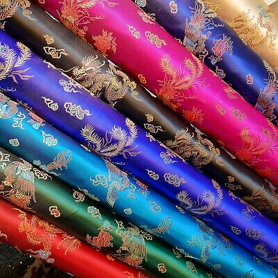Traditional Chinese Embroidered Brocade Poly Silky Satin Oriental Dragon Print  • 7.29£