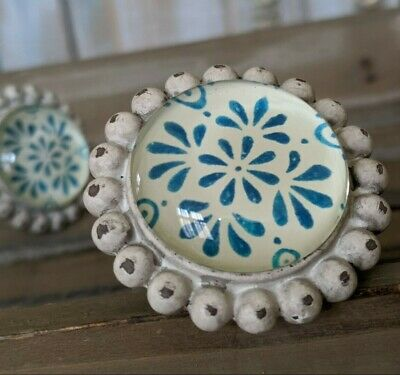 NEW French Vintage Shabby Chic CREAM Blue Metal Door Drawer KNOB Pull Handle  • 5.99£