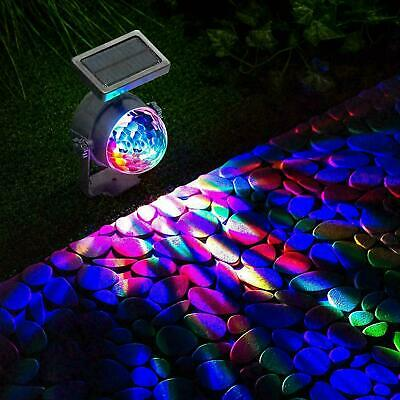 LED Solar Powered Spot Lights Projection Garden Stage Light Colour Changing Lamp • 9.95£