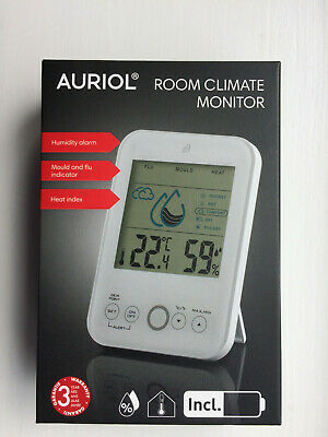 AURIOL  ROOM CLIMATE MONITOR (humidity Alarm'mould And Flu Indicator 'Heat Index • 14.99£