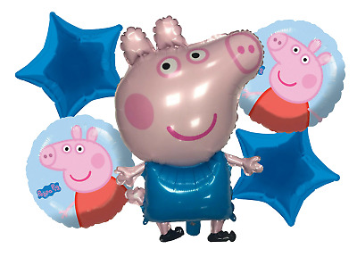 £4.99 • Buy 5 Pcs GEORGE PIG FOIL BALLOON BOUQUET - 4 DIFFERENT DESIGNS - FREE DELIVERY