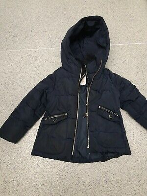 Girls Zara Navy Padded Down Coat 5 Years  • 7£