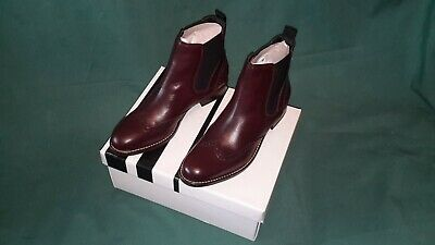 JOHN LEWIS Phoebe Brogue Detail Burgundy Leather Chelsea Ankle Boots • 40£