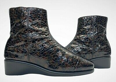 PAVERS Ladies Womens Boots Size UK 5 EU 38 Patent Leather Crocodile Print Ankle • 21.89£