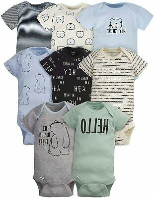 Baby Boys' 8-Pack Short-Sleeve Onesies Bodysuit, Bear, Size 0.0 6eTz US • 23.99£