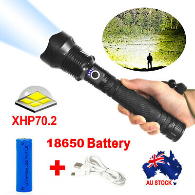 AU26.99 • Buy XHP70.2 Most Powerful 120000LM Tactical Flashlight 3 Mode Zoom LED Hunting Torch