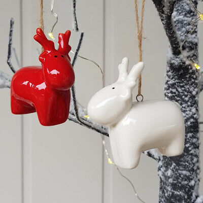£4.99 • Buy Set Of 2 Nordic Ceramic Red/white Reindeer Christmas Ornaments By Gisela Graham