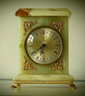 Vintage Marble Onyx Mantel Carriage Clock Quartz Rectangular Gold Metal Footed • 15£