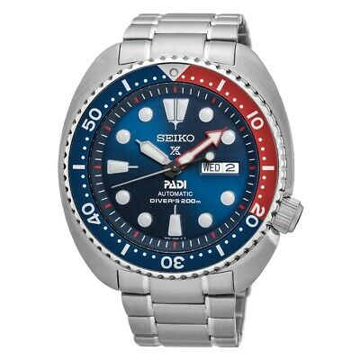 $ CDN406.41 • Buy Seiko Padi Prospex Turtle Pepsi 45 Mm Automatic Stainless Steel Watch - SRPA21K1